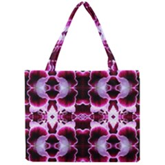 White Burgundy Flower Abstract Tiny Tote Bags