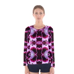 White Burgundy Flower Abstract Women s Long Sleeve T Shirts by Costasonlineshop
