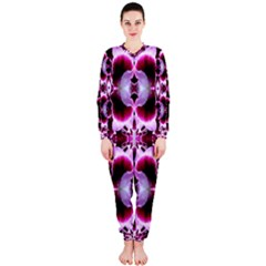 White Burgundy Flower Abstract Onepiece Jumpsuit (ladies)  by Costasonlineshop