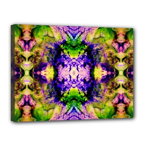 Green,purple Yellow ,goa Pattern Canvas 16  X 12  by Costasonlineshop