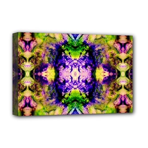 Green,purple Yellow ,goa Pattern Deluxe Canvas 18  X 12   by Costasonlineshop