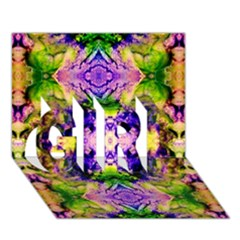 Green,purple Yellow ,goa Pattern Girl 3d Greeting Card (7x5)  by Costasonlineshop