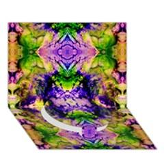 Green,purple Yellow ,goa Pattern Circle Bottom 3d Greeting Card (7x5)