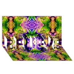 Green,purple Yellow ,goa Pattern Believe 3d Greeting Card (8x4)  by Costasonlineshop