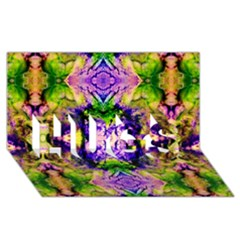 Green,purple Yellow ,goa Pattern Hugs 3d Greeting Card (8x4)