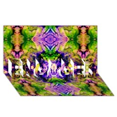 Green,purple Yellow ,goa Pattern Engaged 3d Greeting Card (8x4)  by Costasonlineshop