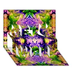 Green,purple Yellow ,goa Pattern Get Well 3d Greeting Card (7x5)  by Costasonlineshop