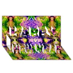 Green,purple Yellow ,goa Pattern Happy New Year 3d Greeting Card (8x4)  by Costasonlineshop