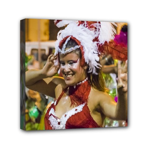 Costumed Attractive Young Woman Dancer At Carnival Parade Of Uruguay Mini Canvas 6  X 6  by dflcprints