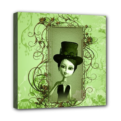 Cute Girl With Steampunk Hat And Floral Elements Mini Canvas 8  x 8  by FantasyWorld7