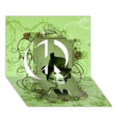 Cute Girl With Steampunk Hat And Floral Elements Peace Sign 3d Greeting Card (7x5)  by FantasyWorld7