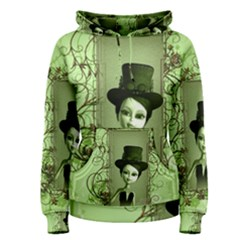Cute Girl With Steampunk Hat And Floral Elements Women s Pullover Hoodies