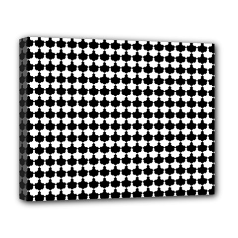Black And White Scallop Repeat Pattern Deluxe Canvas 20  X 16   by PaperandFrill