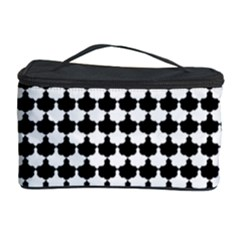 Black And White Scallop Repeat Pattern Cosmetic Storage Cases by PaperandFrill