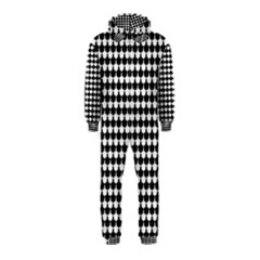 Black And White Scallop Repeat Pattern Hooded Jumpsuit (kids)
