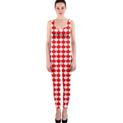 Red And White Scallop Repeat Pattern Onepiece Catsuits by PaperandFrill