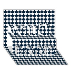 Navy And White Scallop Repeat Pattern You Rock 3d Greeting Card (7x5)  by PaperandFrill
