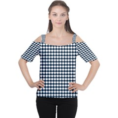 Navy And White Scallop Repeat Pattern Women s Cutout Shoulder Tee by PaperandFrill