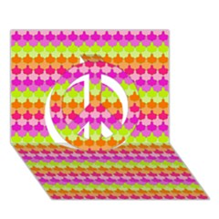 Scallop Pattern Repeat In 'la' Bright Colors Peace Sign 3d Greeting Card (7x5)  by PaperandFrill