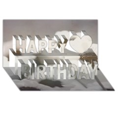 Black And White Flower Happy Birthday 3d Greeting Card (8x4)  by trendistuff