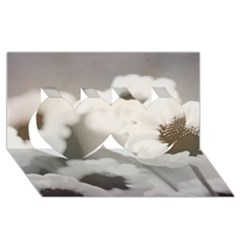 Black And White Flower Twin Hearts 3d Greeting Card (8x4)  by trendistuff
