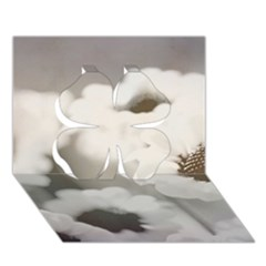 Black And White Flower Clover 3d Greeting Card (7x5)  by trendistuff