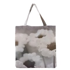 Black And White Flower Grocery Tote Bags by trendistuff