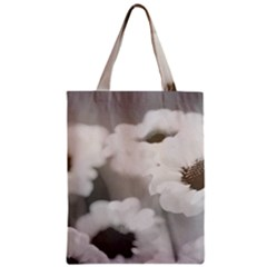 Black And White Flower Zipper Classic Tote Bags by trendistuff