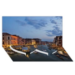 Venice Canal Twin Heart Bottom 3d Greeting Card (8x4)  by trendistuff