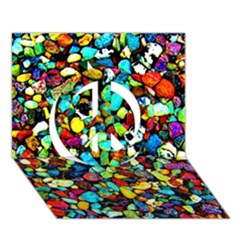 Colorful Stones, Nature Peace Sign 3d Greeting Card (7x5)  by Costasonlineshop
