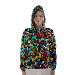 Colorful Stones, Nature Hooded Wind Breaker (women)