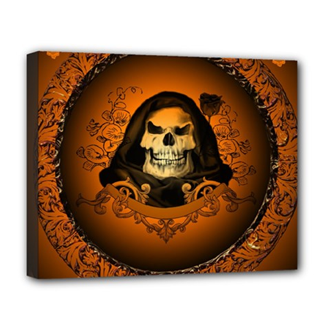 Awsome Skull With Roses And Floral Elements Deluxe Canvas 20  X 16   by FantasyWorld7
