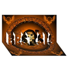 Awsome Skull With Roses And Floral Elements Best Sis 3d Greeting Card (8x4)
