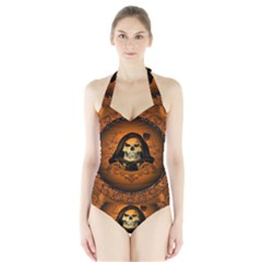 Awsome Skull With Roses And Floral Elements Women s Halter One Piece Swimsuit
