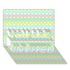Scallop Repeat Pattern In Miami Pastel Aqua, Pink, Mint And Lemon You Are Invited 3d Greeting Card (7x5)