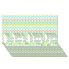 Scallop Repeat Pattern In Miami Pastel Aqua, Pink, Mint And Lemon Believe 3d Greeting Card (8x4)
