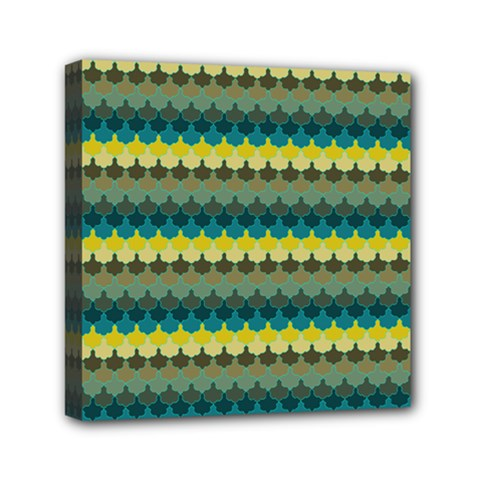 Scallop Pattern Repeat In  new York  Teal, Mustard, Grey And Moss Mini Canvas 6  X 6  by PaperandFrill