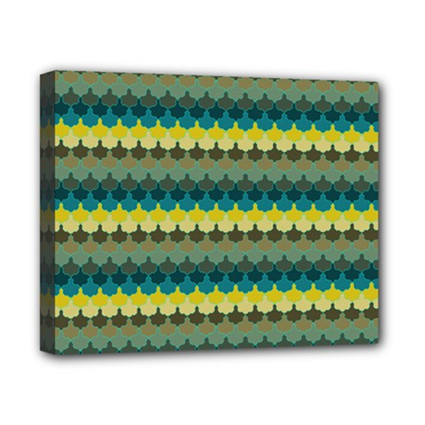 Scallop Pattern Repeat In  new York  Teal, Mustard, Grey And Moss Canvas 10  X 8  by PaperandFrill