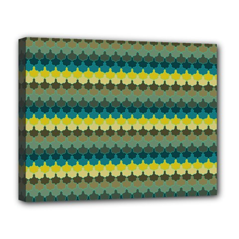 Scallop Pattern Repeat In  new York  Teal, Mustard, Grey And Moss Canvas 14  X 11  by PaperandFrill