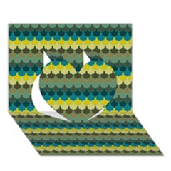 Scallop Pattern Repeat In  new York  Teal, Mustard, Grey And Moss Heart 3d Greeting Card (7x5)