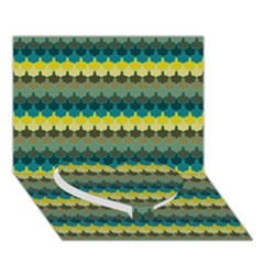 Scallop Pattern Repeat In  new York  Teal, Mustard, Grey And Moss Heart Bottom 3d Greeting Card (7x5)
