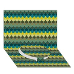 Scallop Pattern Repeat In  new York  Teal, Mustard, Grey And Moss Circle Bottom 3d Greeting Card (7x5)