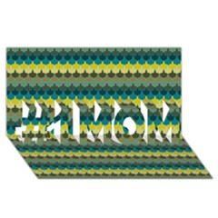 Scallop Pattern Repeat In  new York  Teal, Mustard, Grey And Moss #1 Mom 3d Greeting Cards (8x4)  by PaperandFrill