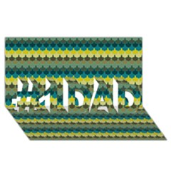 Scallop Pattern Repeat In  new York  Teal, Mustard, Grey And Moss #1 Dad 3d Greeting Card (8x4)