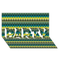 Scallop Pattern Repeat In  new York  Teal, Mustard, Grey And Moss Party 3d Greeting Card (8x4)