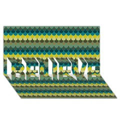 Scallop Pattern Repeat In  new York  Teal, Mustard, Grey And Moss Believe 3d Greeting Card (8x4)  by PaperandFrill