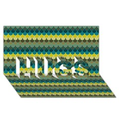 Scallop Pattern Repeat In  new York  Teal, Mustard, Grey And Moss Hugs 3d Greeting Card (8x4)  by PaperandFrill