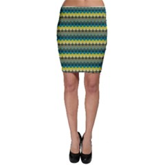 Scallop Pattern Repeat In  new York  Teal, Mustard, Grey And Moss Bodycon Skirts by PaperandFrill