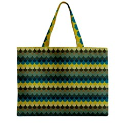 Scallop Pattern Repeat In  new York  Teal, Mustard, Grey And Moss Zipper Tiny Tote Bags by PaperandFrill