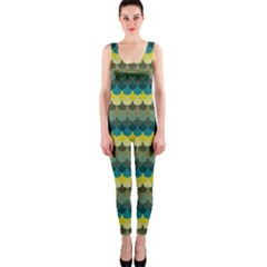 Scallop Pattern Repeat In  new York  Teal, Mustard, Grey And Moss Onepiece Catsuits by PaperandFrill